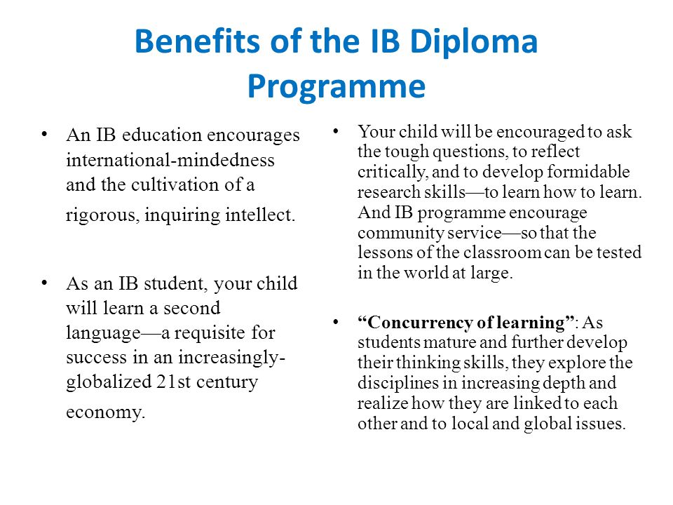 Benefits of the IB Diploma Programme