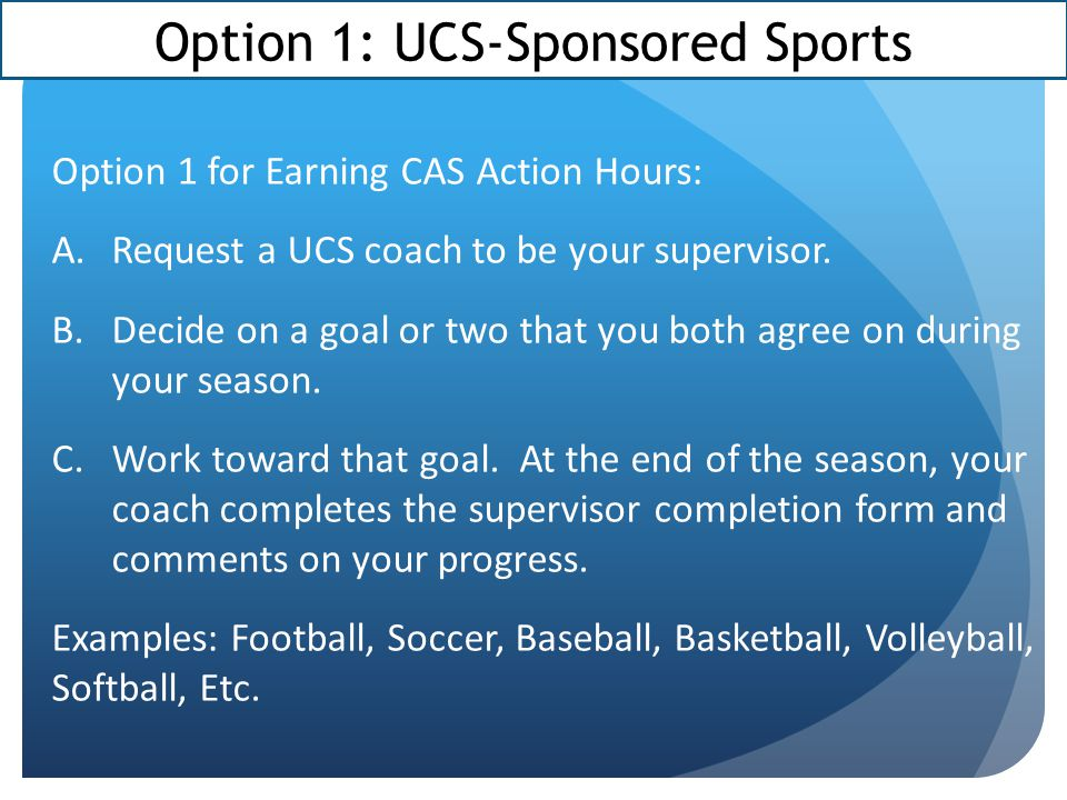 Option 1: UCS-Sponsored Sports