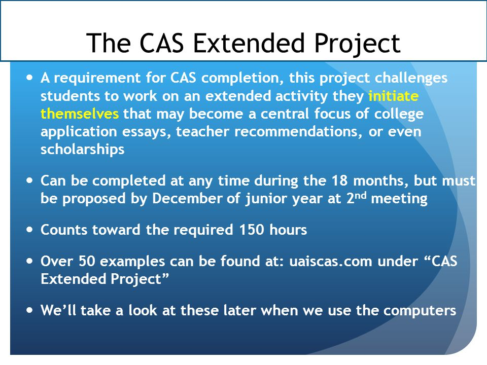 The CAS Extended Project