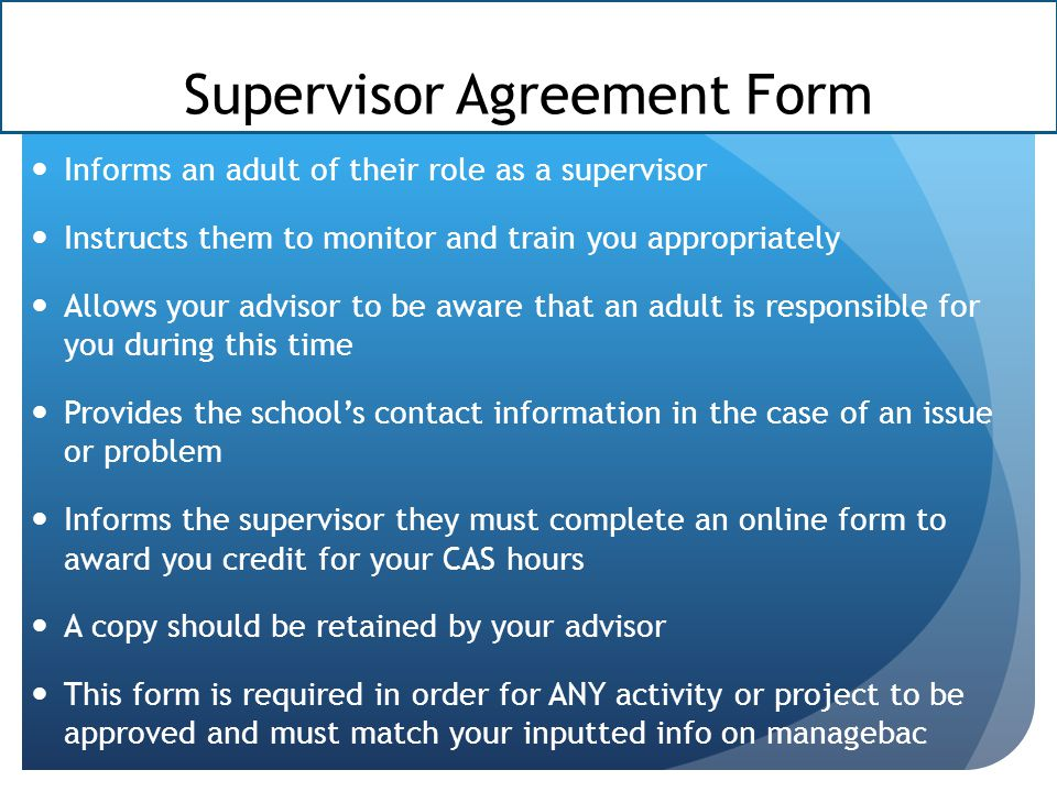 Supervisor Agreement Form