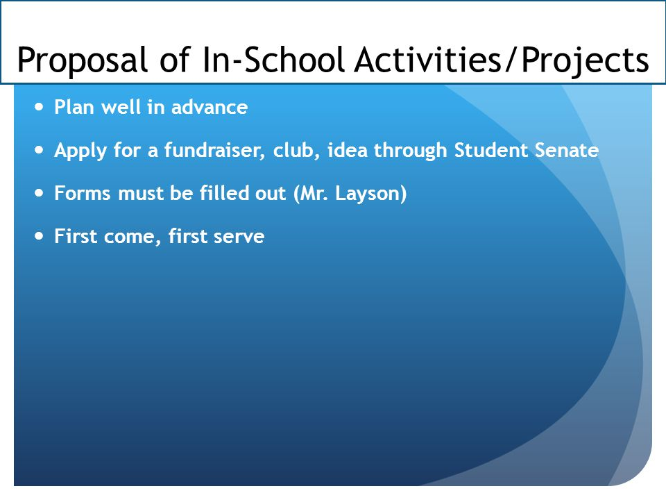 Proposal of In-School Activities/Projects