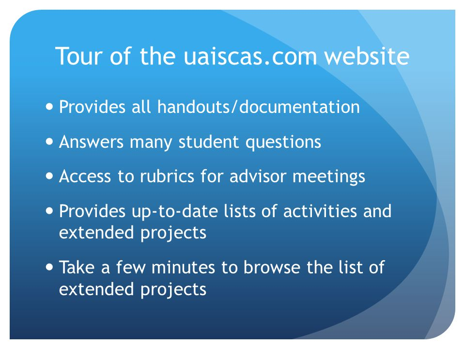 Tour of the uaiscas.com website