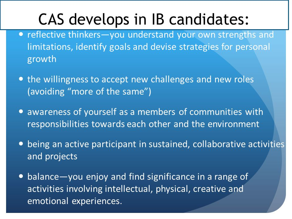 CAS develops in IB candidates: