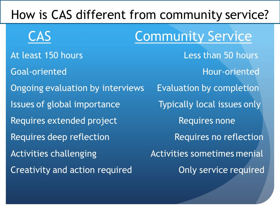 How is CAS different from community service