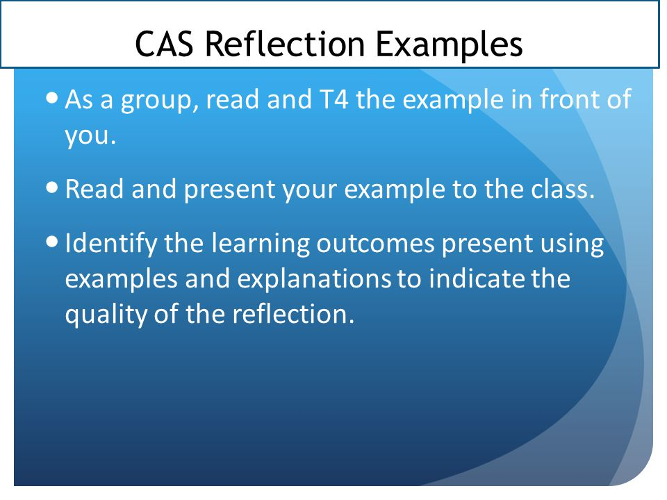 CAS Reflection Examples