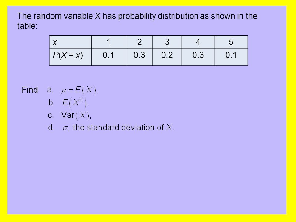 The random variable X has probability distribution as shown in the table: