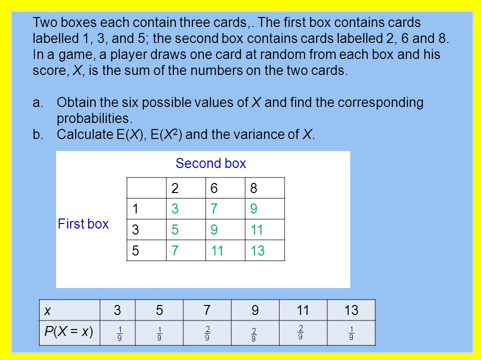Two boxes each contain three cards,