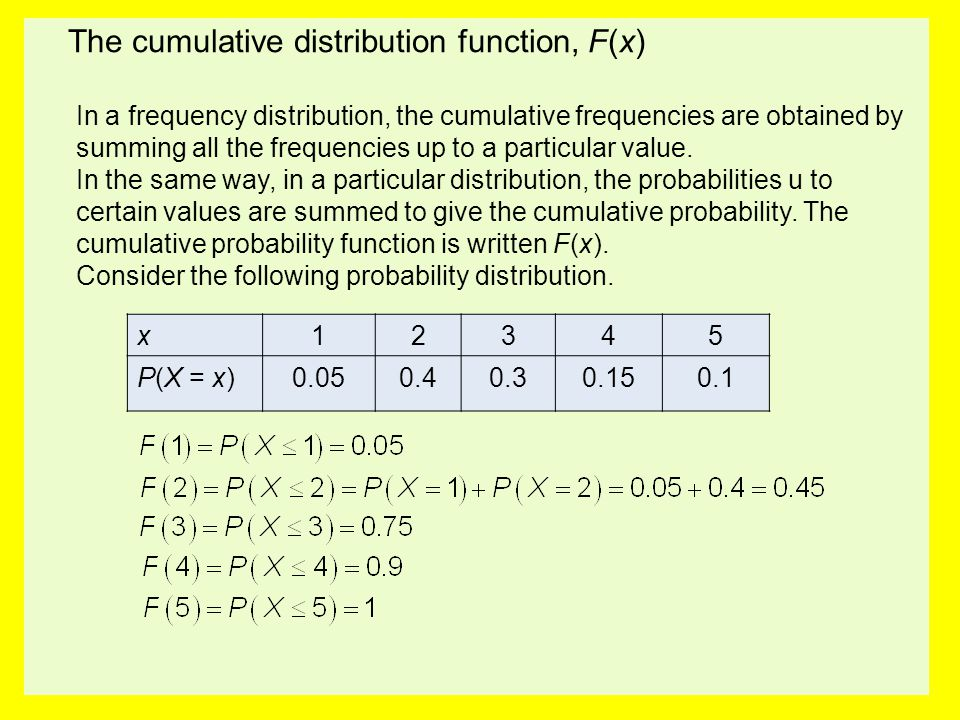 The cumulative distribution function, F(x)