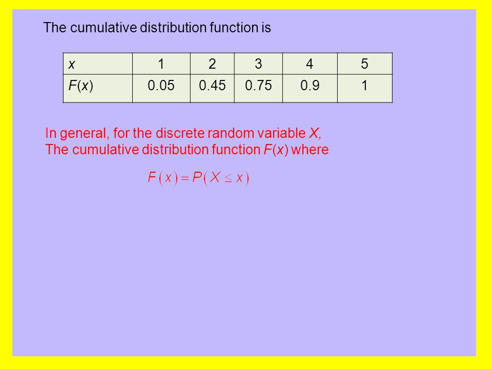 The cumulative distribution function is