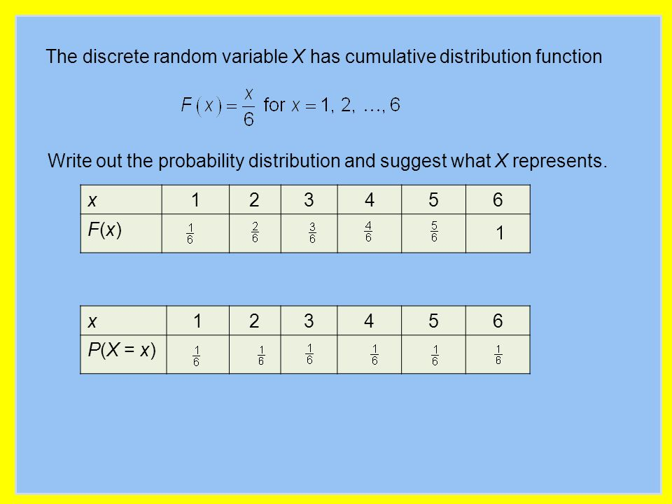 The discrete random variable X has cumulative distribution function