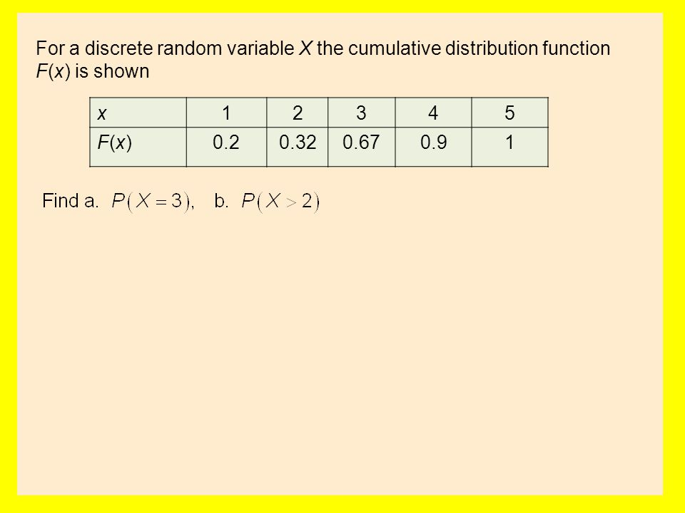 For a discrete random variable X the cumulative distribution function F(x) is shown