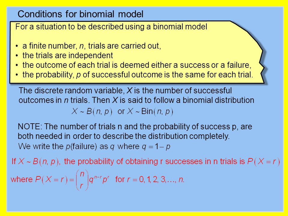 Conditions for binomial model