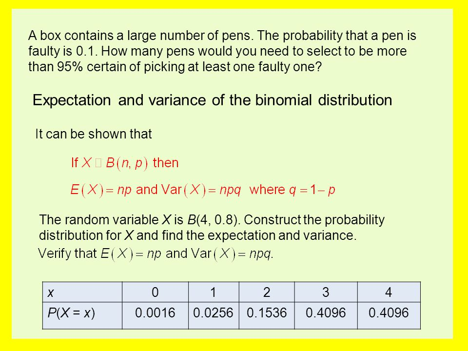Expectation and variance of the binomial distribution