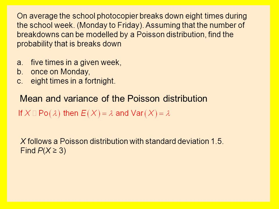Mean and variance of the Poisson distribution