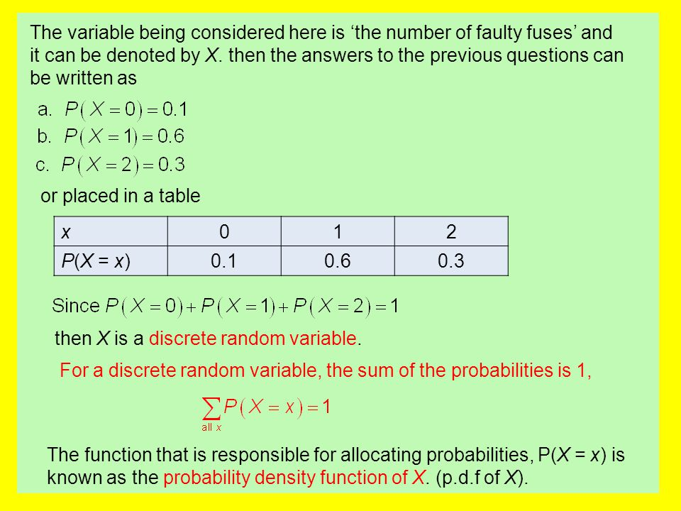 The variable being considered here is 'the number of faulty fuses' and it can be denoted by X. then the answers to the previous questions can be written as