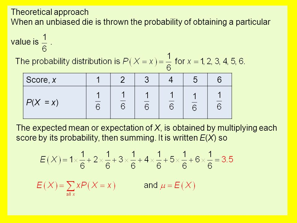 Theoretical approach When an unbiased die is thrown the probability of obtaining a particular. value is .