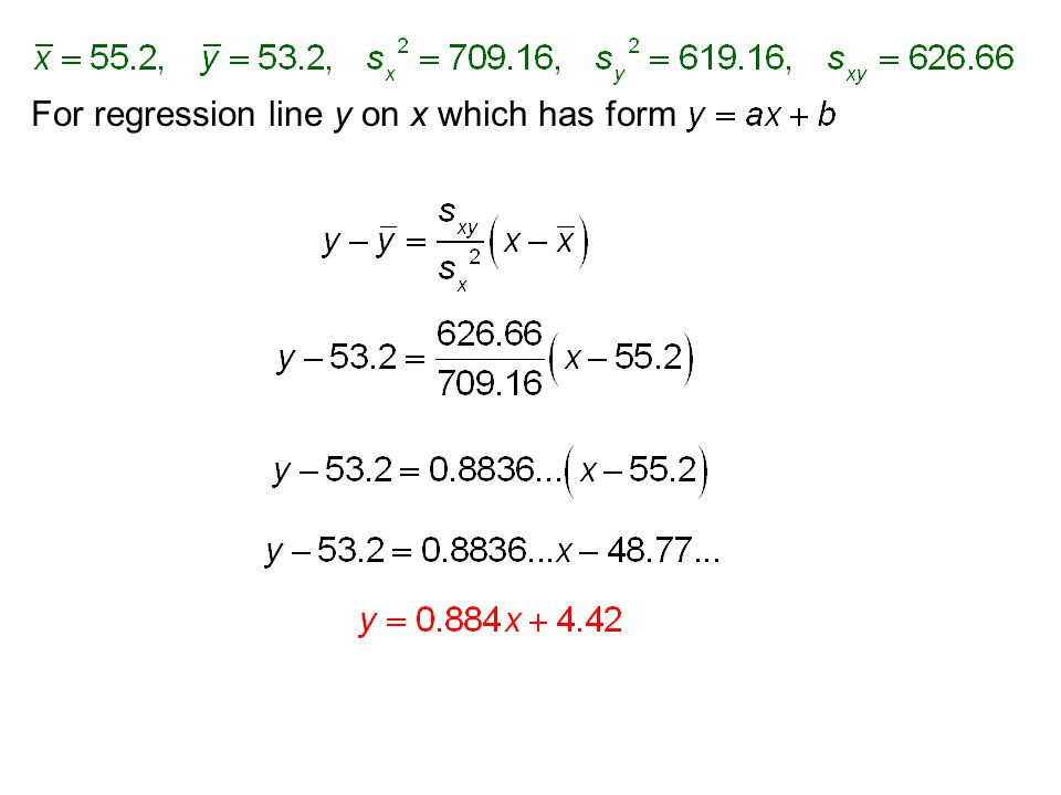 For regression line y on x which has form