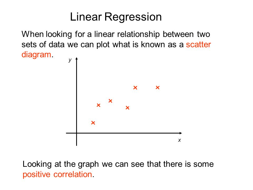 Linear Regression When looking for a linear relationship between two sets of data we can plot what is known as a scatter diagram.