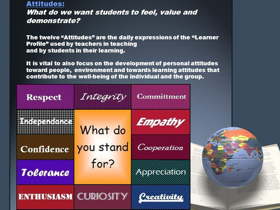 Attitudes: What do we want students to feel, value and demonstrate