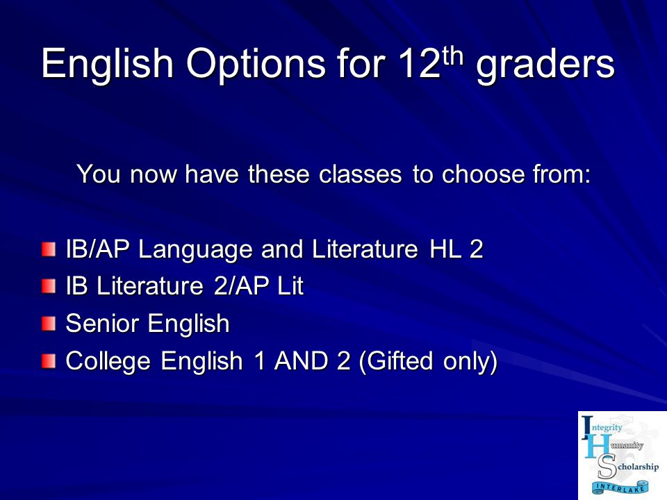English Options for 12th graders