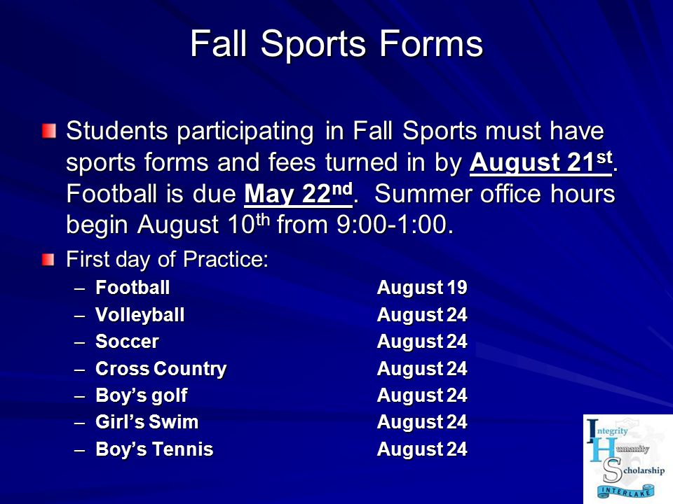 Fall Sports Forms