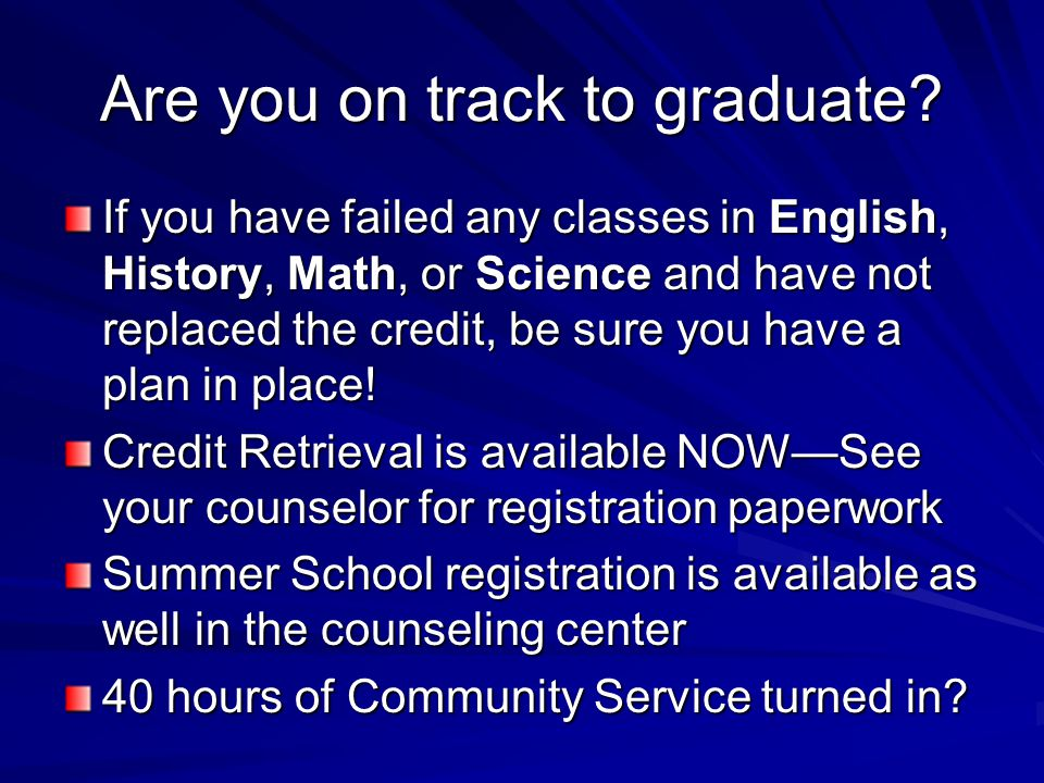 Are you on track to graduate