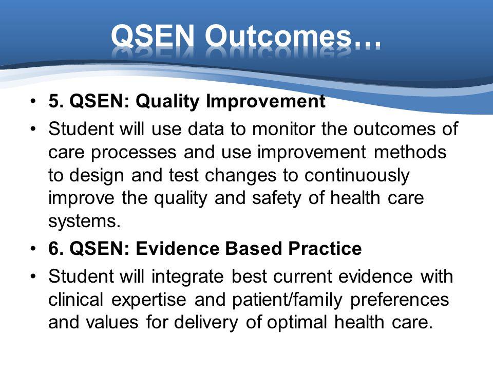 QSEN Outcomes… 5. QSEN: Quality Improvement