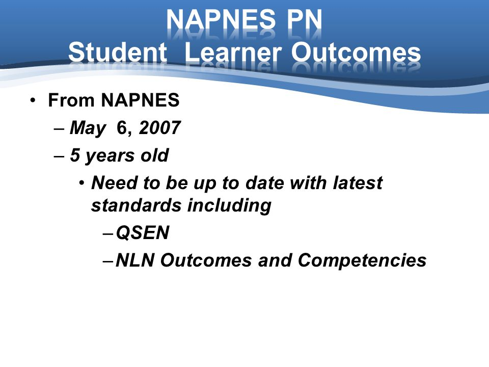 NAPNES PN Student Learner Outcomes