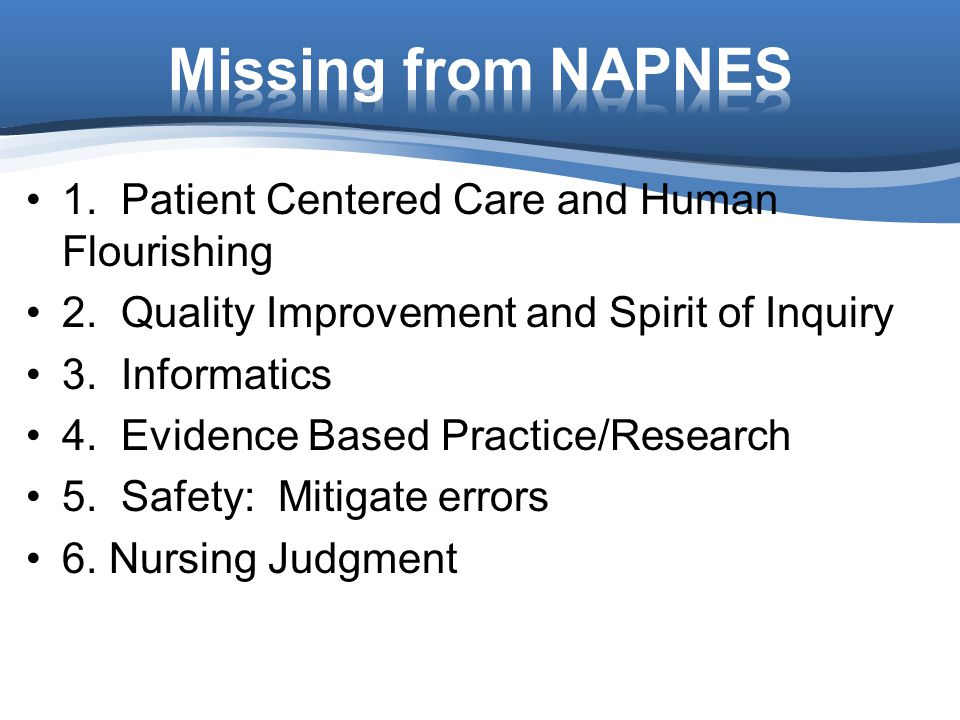 Missing from NAPNES 1. Patient Centered Care and Human Flourishing