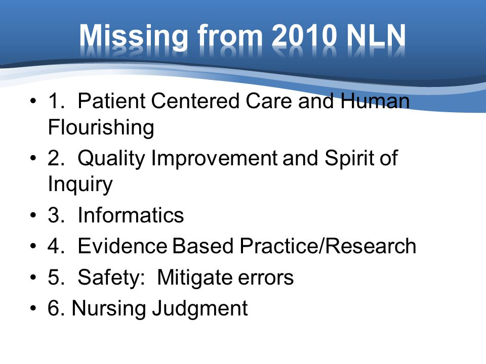 Missing from 2010 NLN 1. Patient Centered Care and Human Flourishing