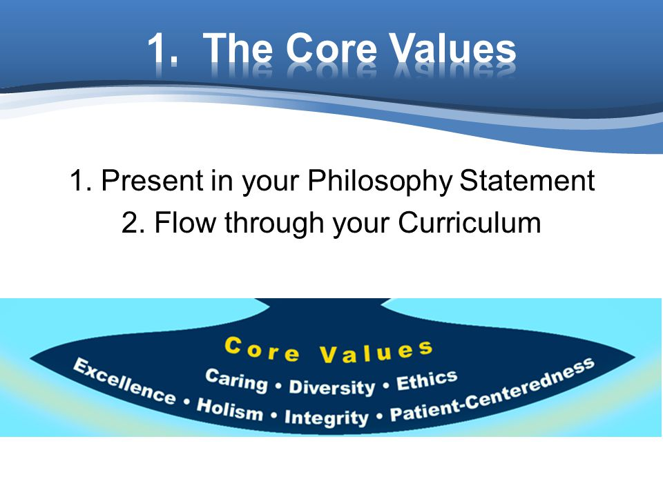 1. The Core Values 1. Present in your Philosophy Statement