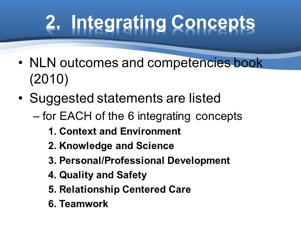 2. Integrating Concepts NLN outcomes and competencies book (2010)
