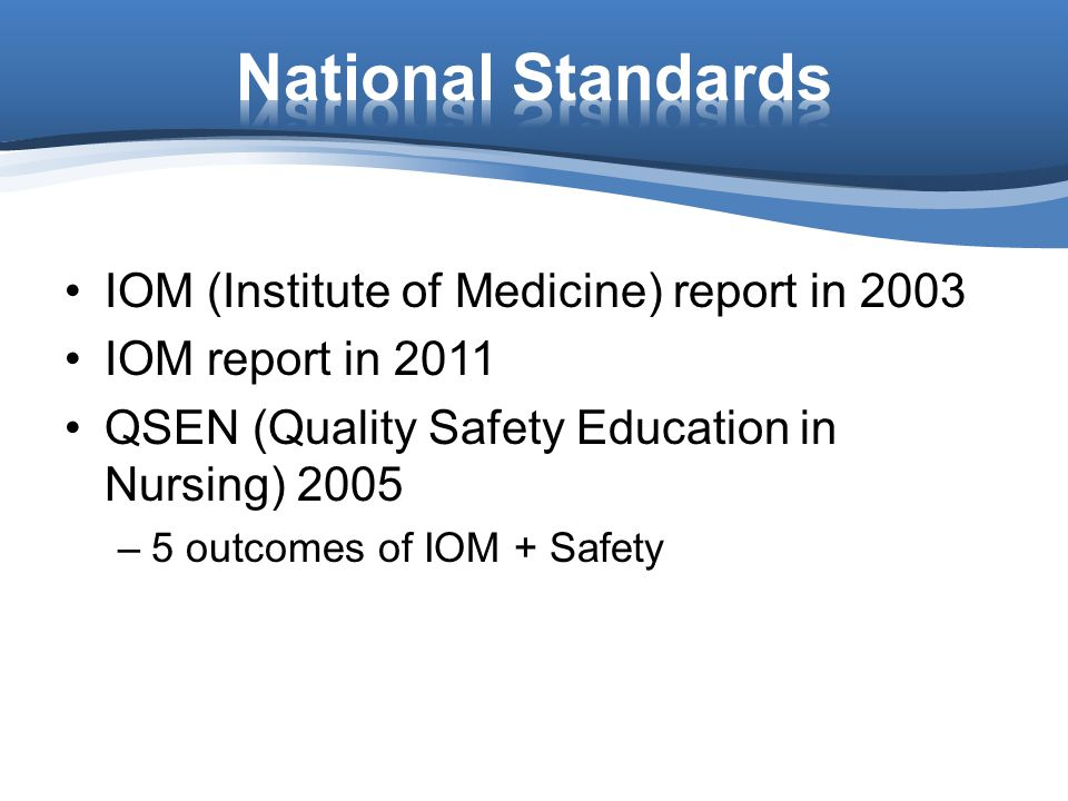 National Standards IOM (Institute of Medicine) report in 2003