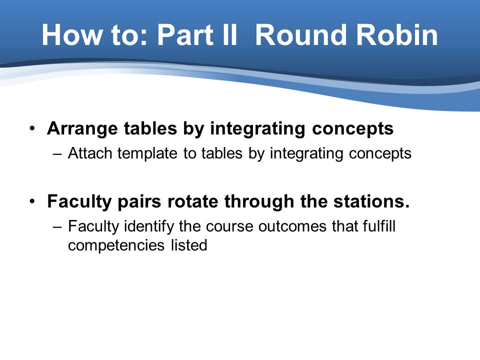 How to: Part II Round Robin