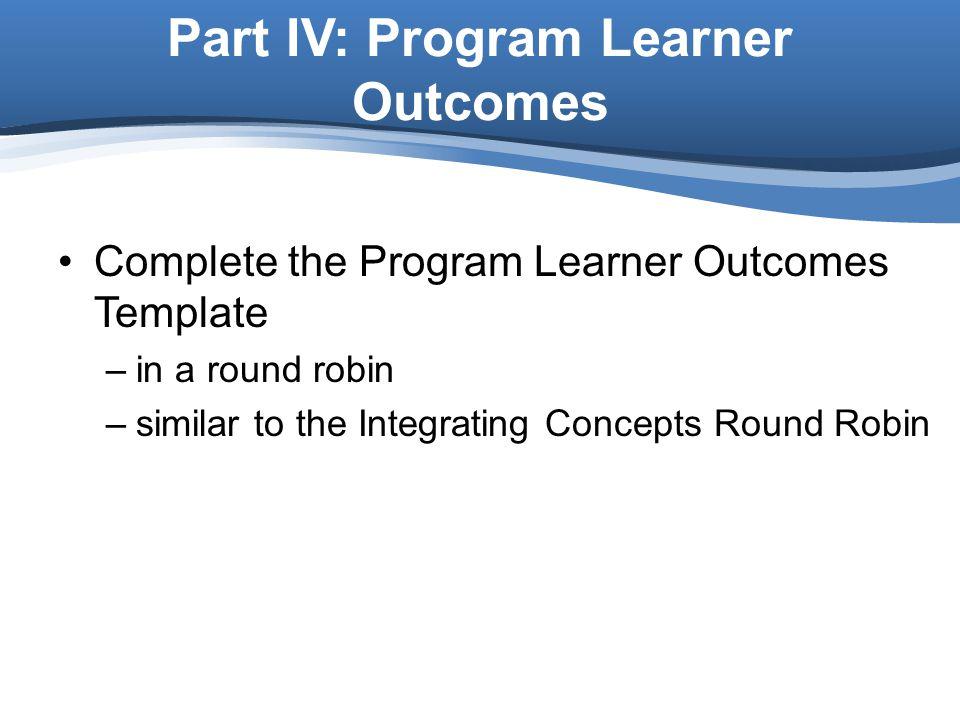 Part IV: Program Learner Outcomes