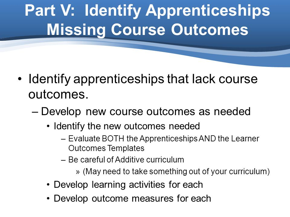 Part V: Identify Apprenticeships Missing Course Outcomes