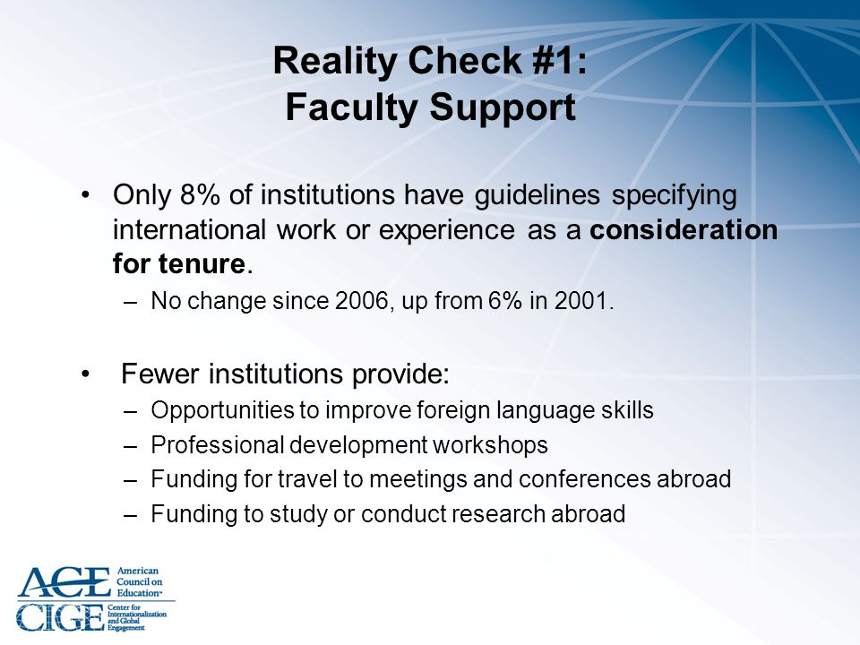 Reality Check #1: Faculty Support