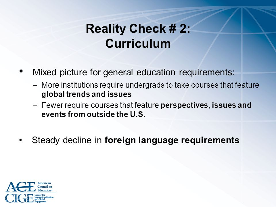 Reality Check # 2: Curriculum