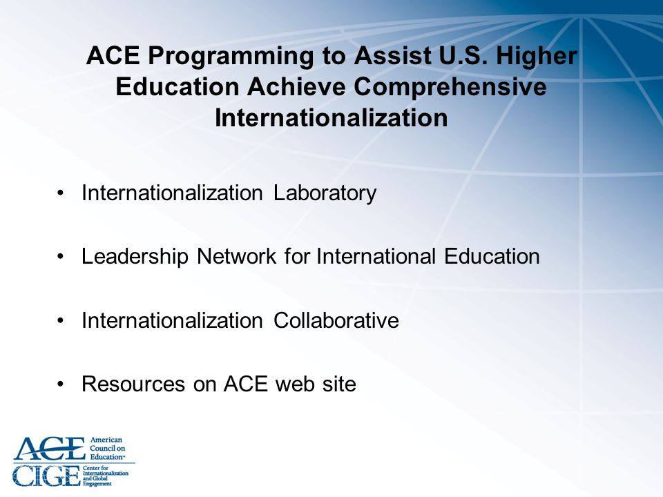 ACE Programming to Assist U. S