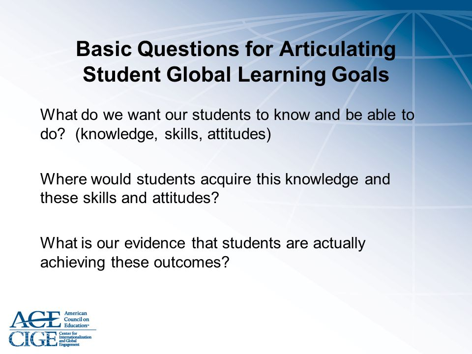Basic Questions for Articulating Student Global Learning Goals