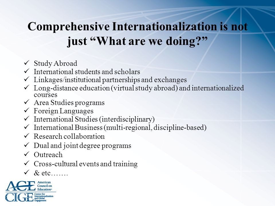 Comprehensive Internationalization is not just What are we doing