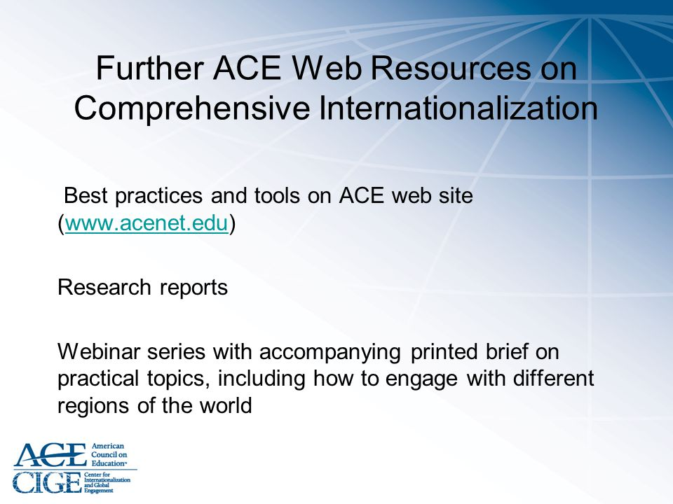 Further ACE Web Resources on Comprehensive Internationalization