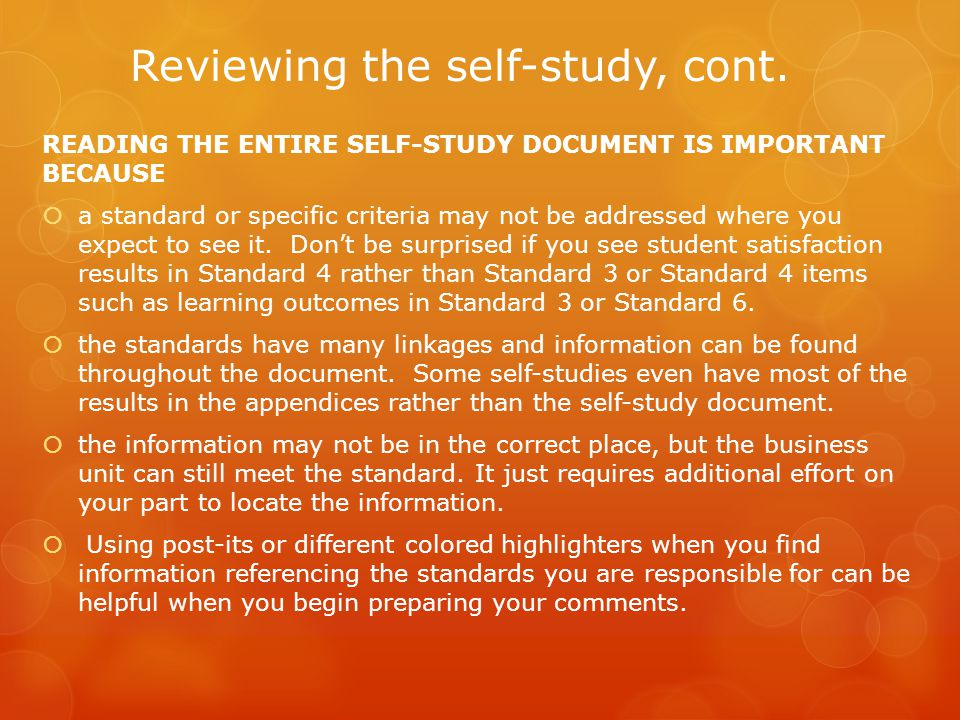 Reviewing the self-study, cont.