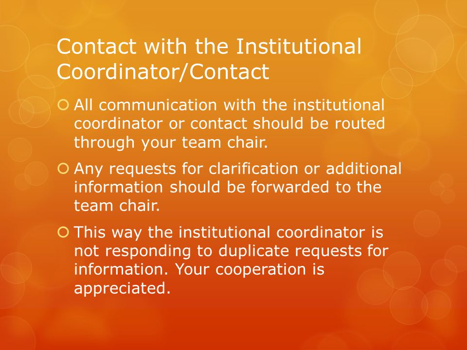 Contact with the Institutional Coordinator/Contact