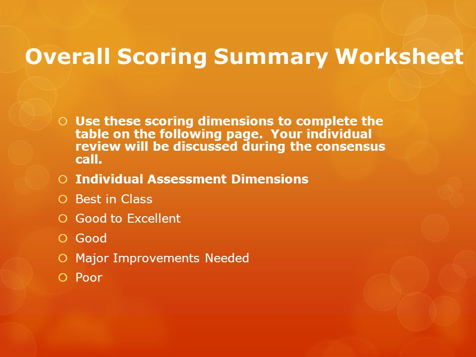 Overall Scoring Summary Worksheet