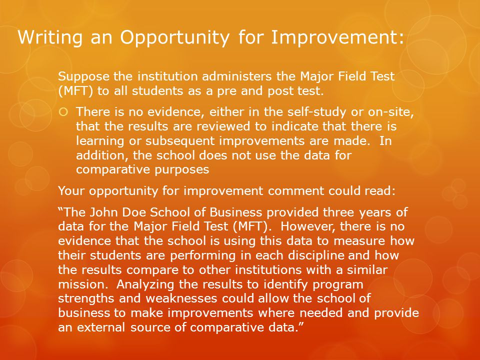 Writing an Opportunity for Improvement: