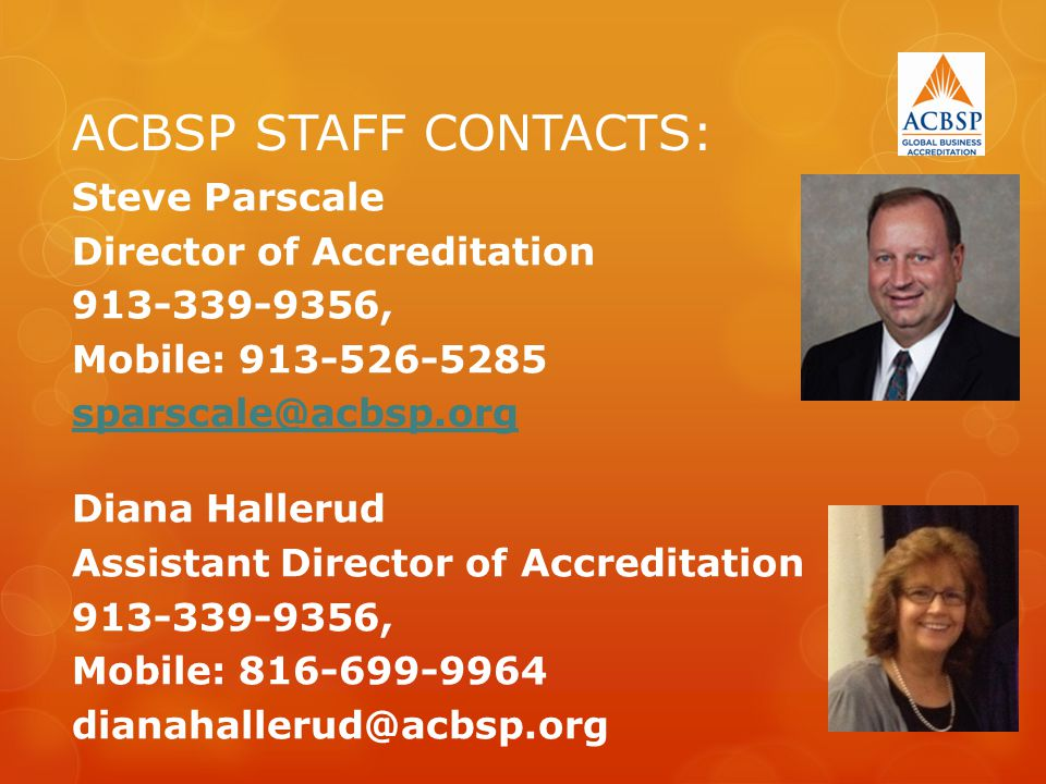 ACBSP STAFF CONTACTS: