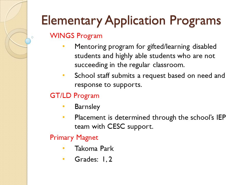 Elementary Application Programs