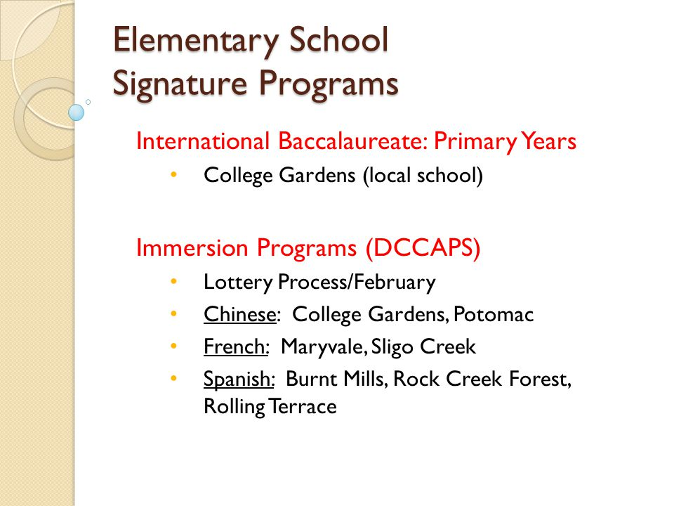 Elementary School Signature Programs