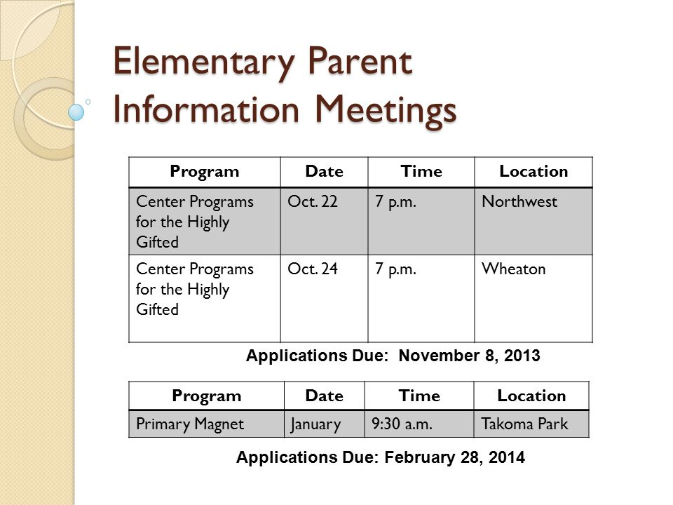 Elementary Parent Information Meetings